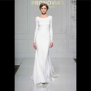 Pronovias vania lace and crepe wedding gown